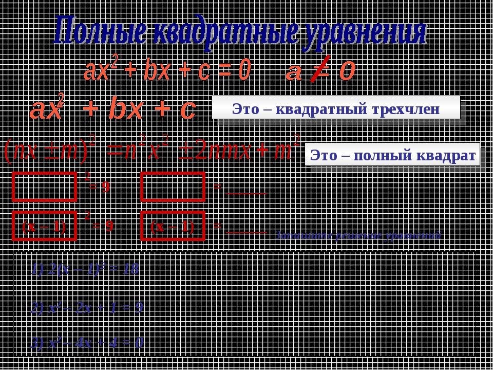 Это – квадратный трехчлен Это – полный квадрат (х – 1) (х – 1) = 9