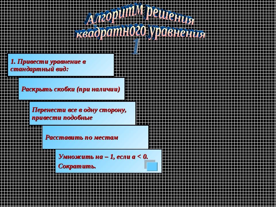 1. Привести уравнение в стандартный вид: Раскрыть скобки (при наличии) Перене...