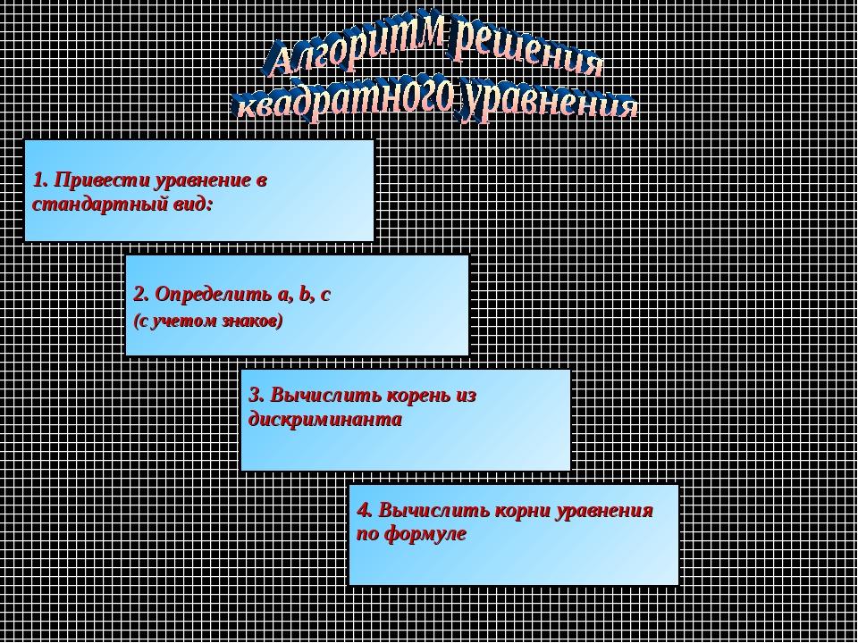 1. Привести уравнение в стандартный вид: 2. Определить a, b, c (с учетом знак...