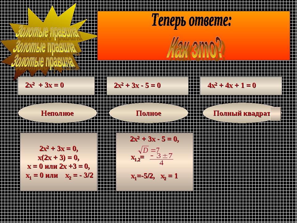 2х2 + 3х = 0 2х2 + 3х - 5 = 0 4х2 + 4х + 1 = 0 Неполное Полное Полный квадрат...