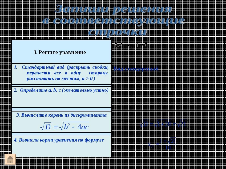 Вид стандартный 5х2 – х – 1 = 0 3. Решите уравнение 1. Стандартный вид (раск...