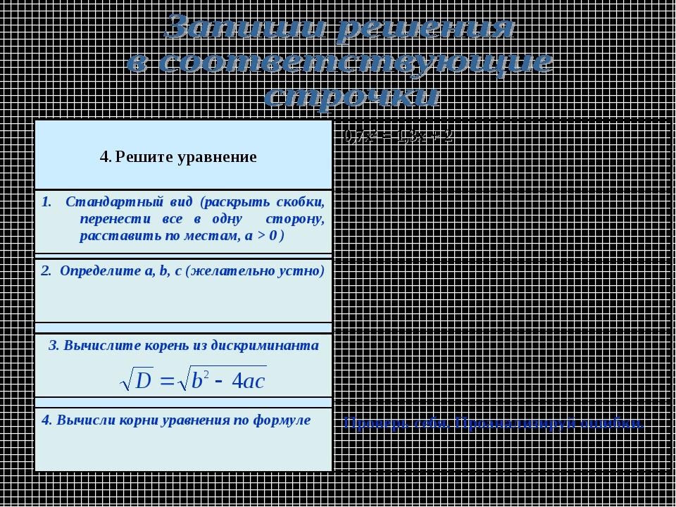 Проверь себя. Проанализируй ошибки. 0,7х2 = 1,3х + 2 4. Решите уравнение 1. С...