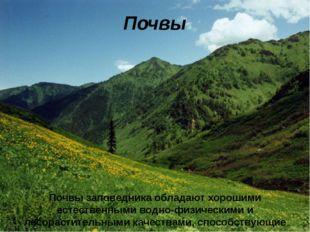 Почвы Почвы заповедника обладают хорошими естественными водно-физическими и л