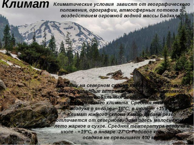 Климат Климатические условия зависят от географического положения, орографии,...