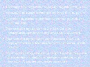 1. Назовите хим. элементы, которые: начинаются на «а»; 2. Составьте названия