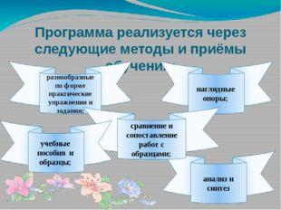 Программа реализуется через следующие методы и приёмы обучения: разнообразные