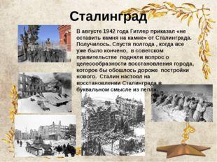 Сталинград В августе 1942 года Гитлер приказал «не оставить камня на камне» о