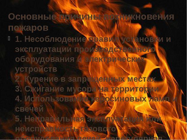 Основные причины возникновения пожаров 1. Несоблюдение правил установки и экс...
