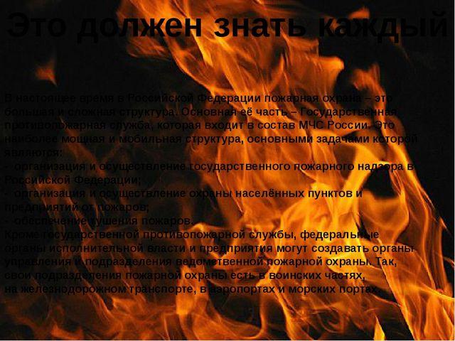 Это должен знать каждый В настоящее время в Российской Федерациипожарная охр...
