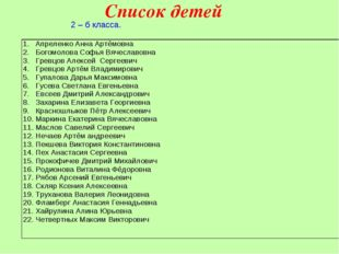 Список детей 2 – б класса. Апреленко Анна Артёмовна Богомолова Софья Вячеслав