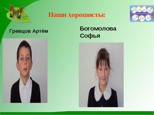 Наши хорошисты: Гревцов Артём Богомолова Софья Софья