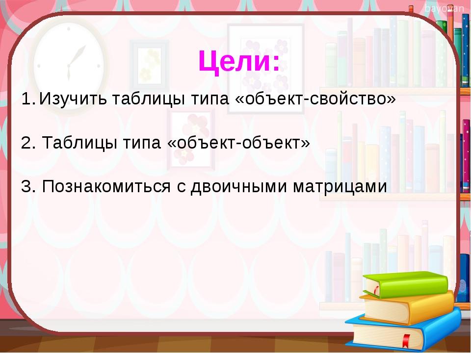 Цели: Изучить таблицы типа «объект-свойство» 2. Таблицы типа «объект-объект»...