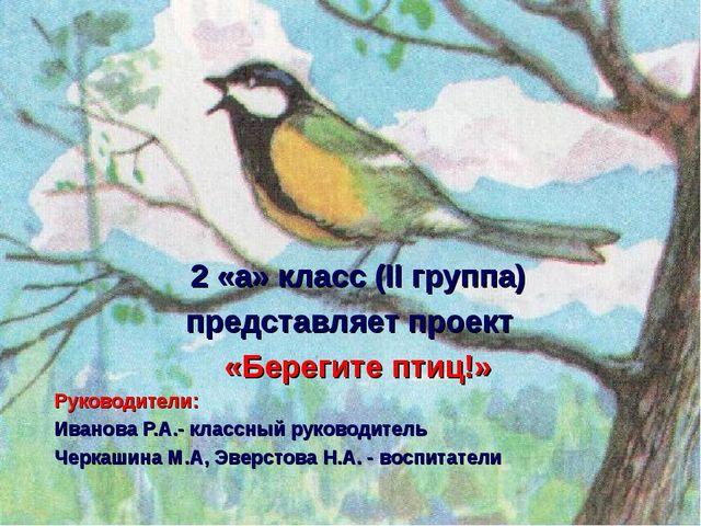 2 «а» класс (II группа) представляет проект «Берегите птиц!» Руководители: И...