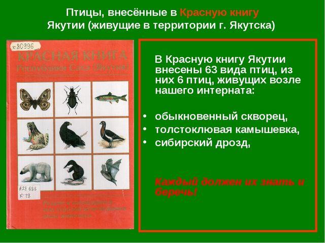 Птицы, внесённые в Красную книгу Якутии (живущие в территории г. Якутска) В К...
