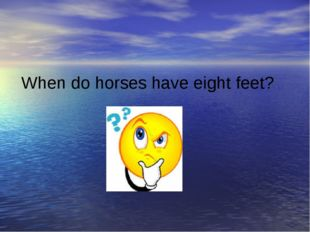 When do horses have eight feet?