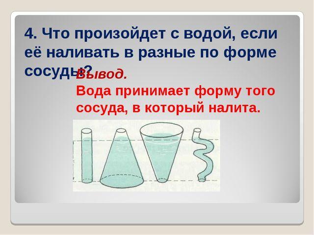4. Что произойдет с водой, если её наливать в разные по форме сосуды? Вывод....