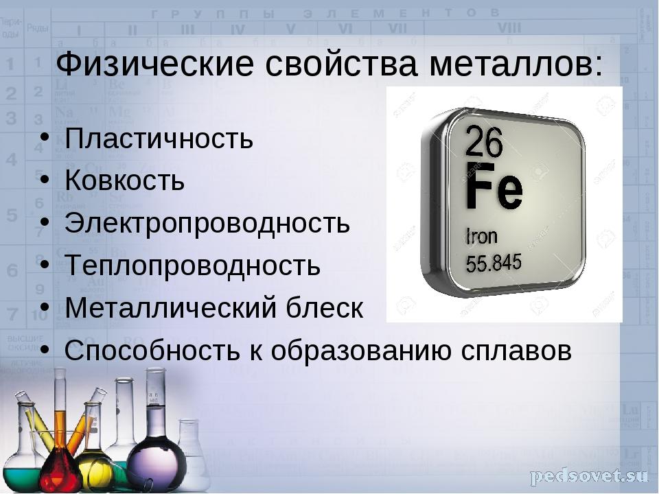 Физические свойства металлов: Пластичность Ковкость Электропроводность Теплоп...