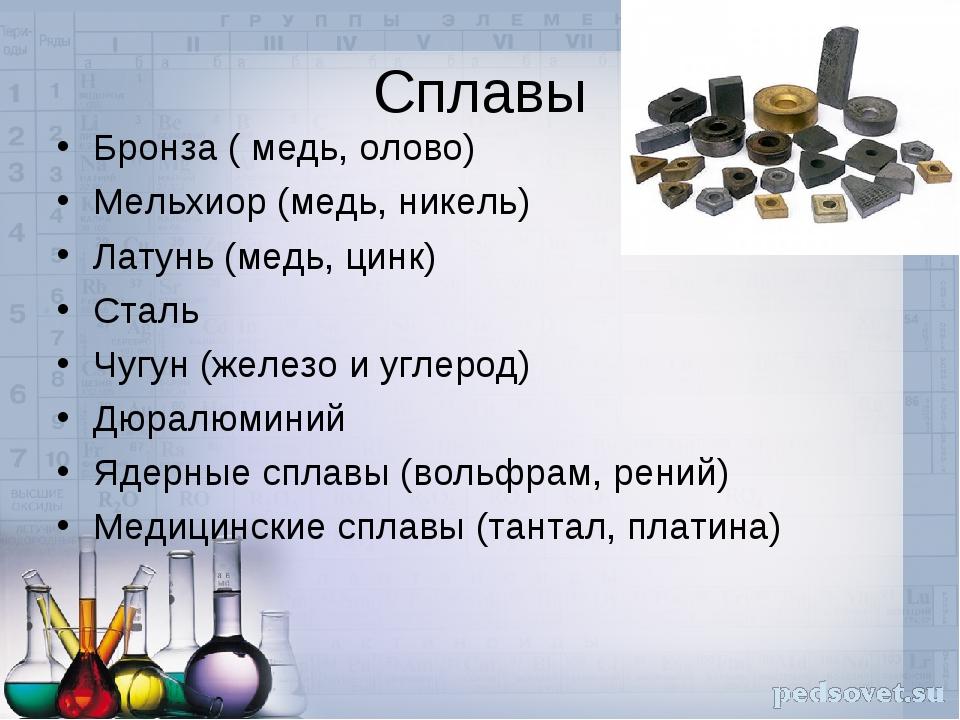 Сплавы Бронза ( медь, олово) Мельхиор (медь, никель) Латунь (медь, цинк) Стал...