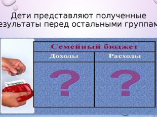 Дети представляют полученные результаты перед остальными группами
