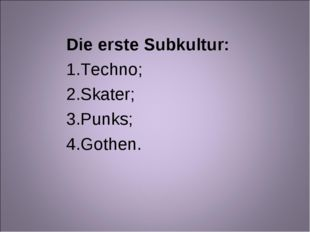 Die erste Subkultur: Techno; Skater; Punks; Gothen.