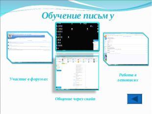 Обучение письму Общение через скайп Работа в летописях Участие в форумах