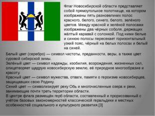 Флаг Новосибирской области представляет собой прямоугольное полотнище, на кот