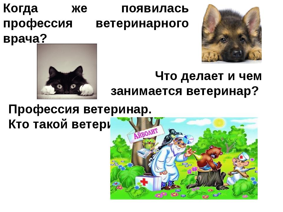 Когда же появилась профессия ветеринарного врача? Профессия ветеринар. Кто та...