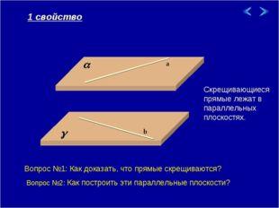 * * Скрещивающиеся прямые лежат в параллельных плоскостях. b a 1 свойство Воп