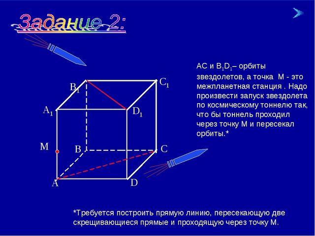 * * АС и В1D1– орбиты звездолетов, а точка М - это межпланетная станция . Над...