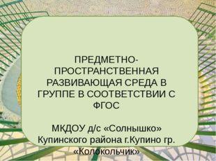 ПРЕДМЕТНО-ПРОСТРАНСТВЕННАЯ РАЗВИВАЮЩАЯ СРЕДА В ГРУППЕ В СООТВЕТСТВИИ С ФГОС