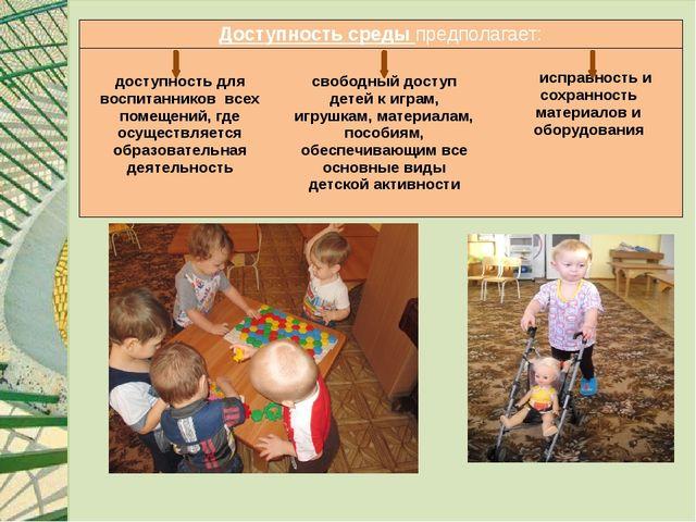Доступность средыпредполагает: доступность для воспитанников всех помещений...