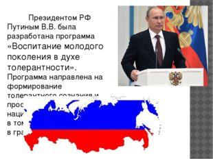 Президентом РФ Путиным В.В. была разработана программа «Воспитание молодого