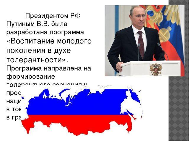 Президентом РФ Путиным В.В. была разработана программа «Воспитание молодого...