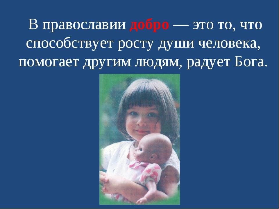 В православии добро — это то, что способствует росту души человека, помогает...
