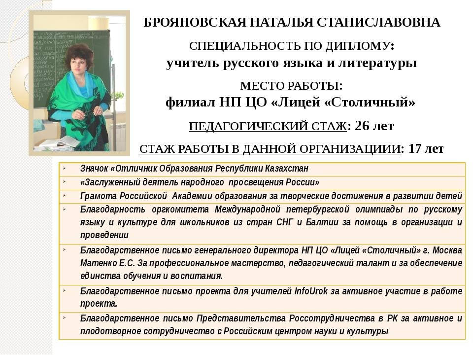 БРОЯНОВСКАЯ НАТАЛЬЯ СТАНИСЛАВОВНА СПЕЦИАЛЬНОСТЬ ПО ДИПЛОМУ: учитель русского...
