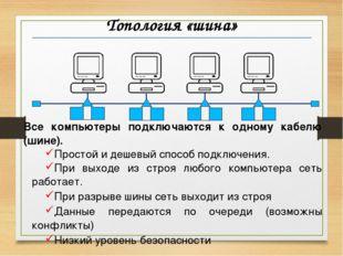 Топология «шина» Все компьютеры подключаются к одному кабелю (шине). Простой
