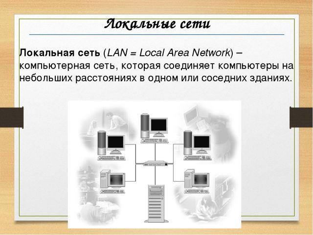 Локальные сети Локальная сеть (LAN = Local Area Network) –компьютерная сеть,...