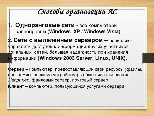 Способы организации ЛС Одноранговые сети - все компьютеры равноправны (Window...