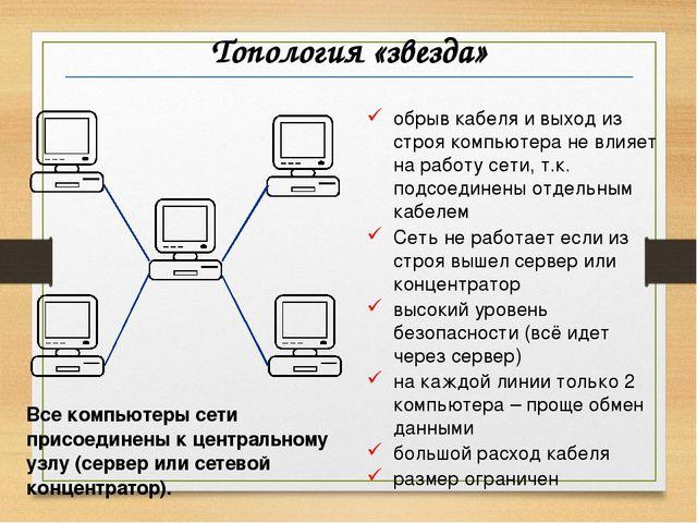 Топология «звезда» обрыв кабеля и выход из строя компьютера не влияет на рабо...