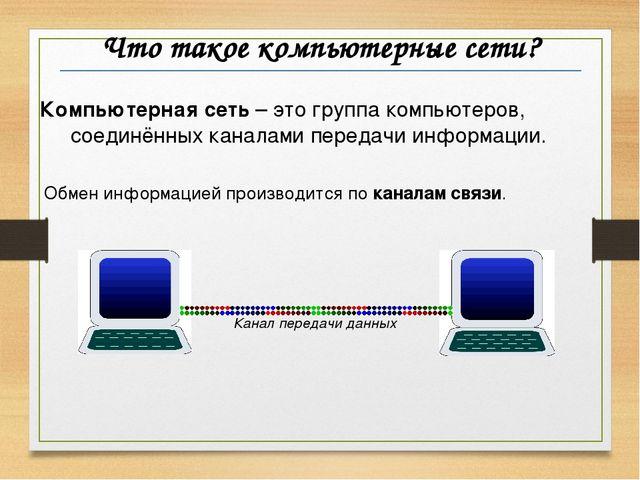 Что такое компьютерные сети? Компьютерная сеть – это группа компьютеров, соед...