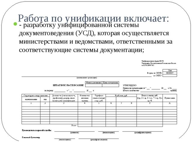 Работа по унификации включает: - разработку унифицированной системы документо...