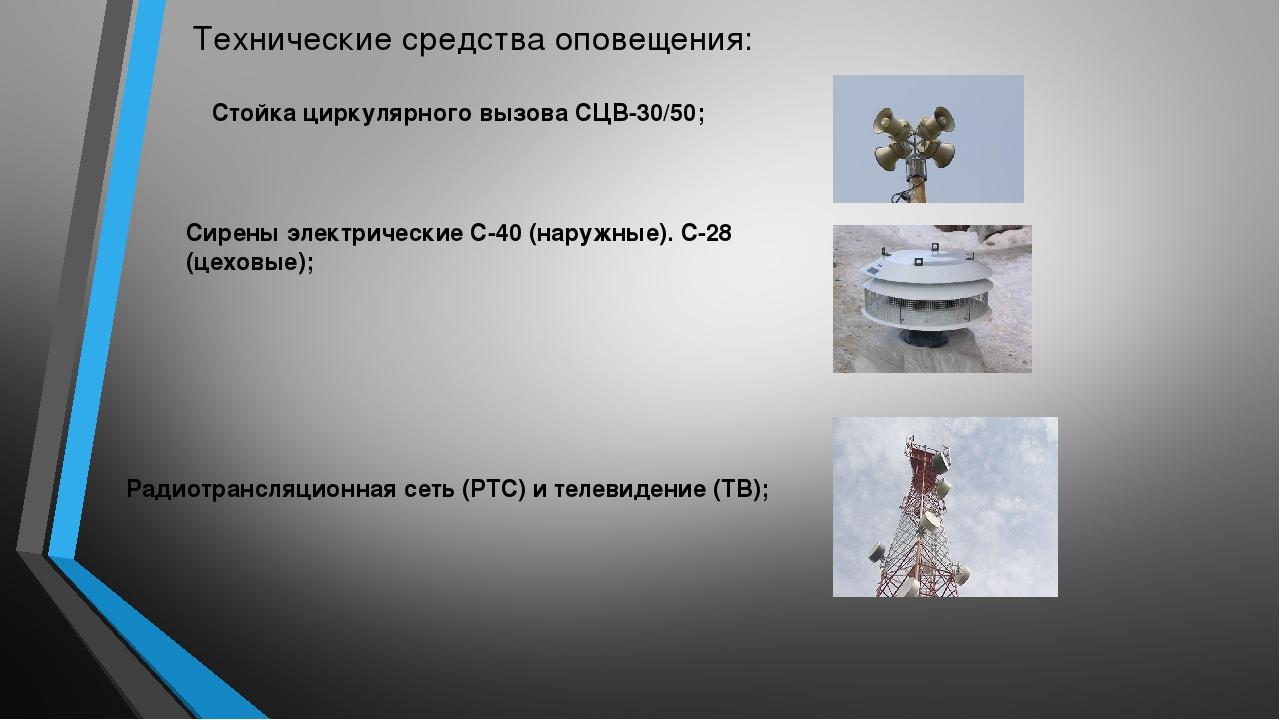 Технические средства оповещения: Стойка циркулярного вызова СЦВ-30/50; Сирены...