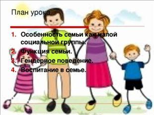 План урока. Особенность семьи как малой социальной группы. Функция семьи. Ген