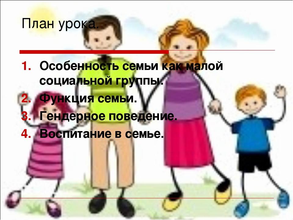План урока. Особенность семьи как малой социальной группы. Функция семьи. Ген...