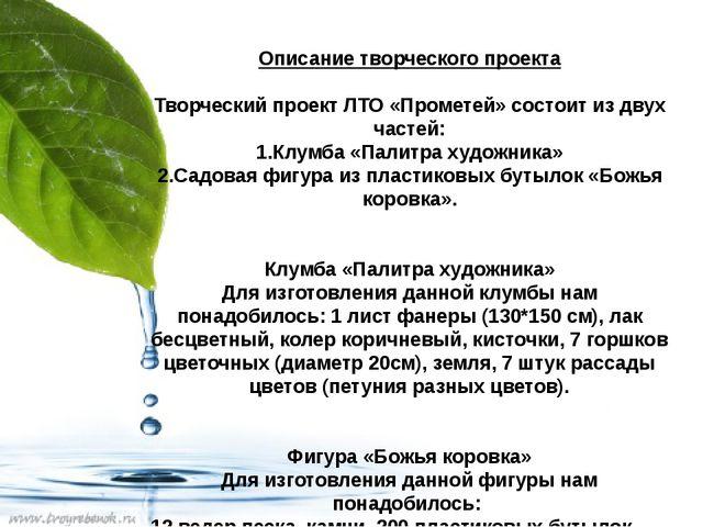 Описание творческого проекта Творческий проект ЛТО «Прометей» состоит из двух...