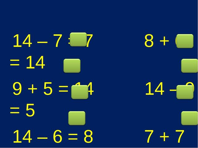 14 – 7 = 7 8 + 6 = 14 9 + 5 = 14 14 – 9 = 5 14 – 6 = 8 7 + 7 = 14 14 – 5 = 9...