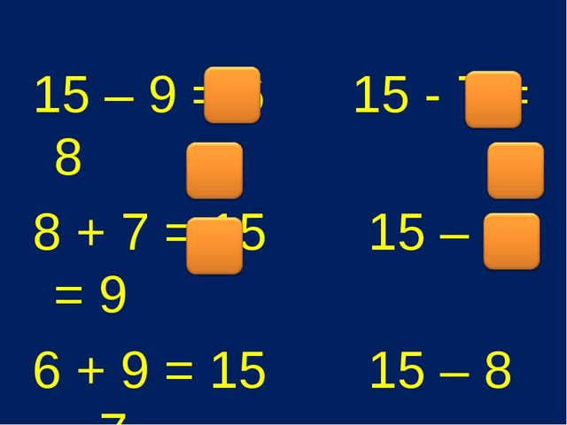 15 – 9 = 6 15 - 7 = 8 8 + 7 = 15 15 – 6 = 9 6 + 9 = 15 15 – 8 = 7