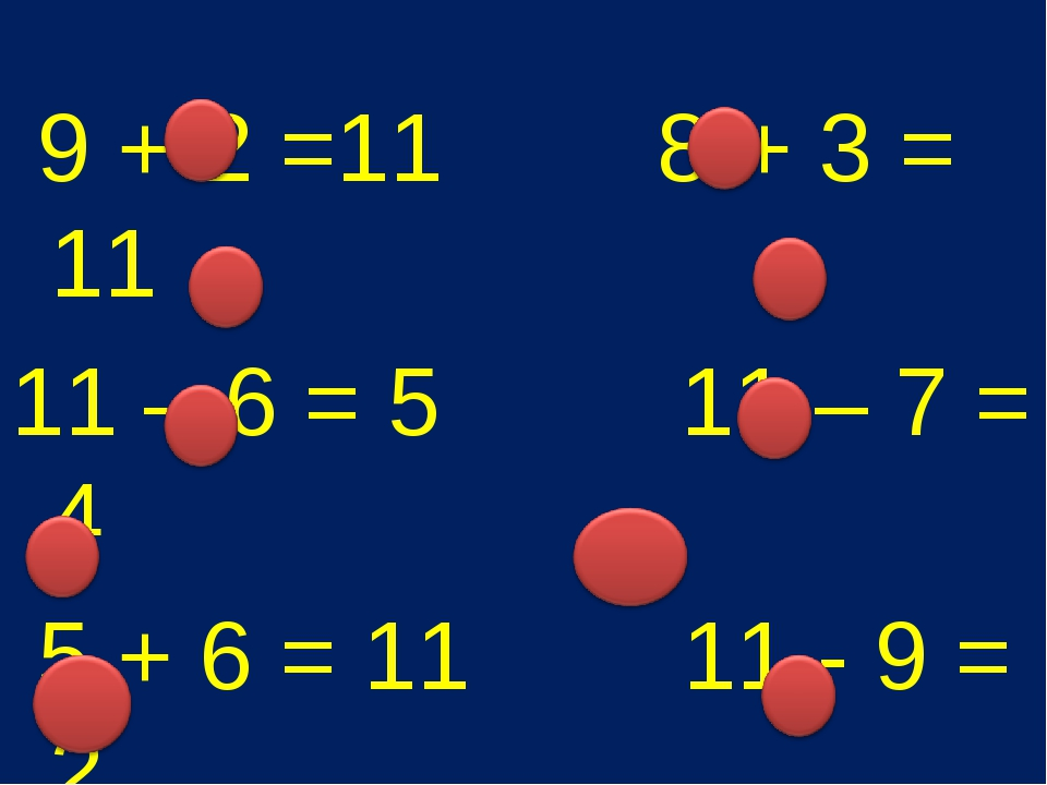 9 + 2 =11 8 + 3 = 11 11 – 6 = 5 11 – 7 = 4 5 + 6 = 11 11 - 9 = 2 7 + 4 = 11...