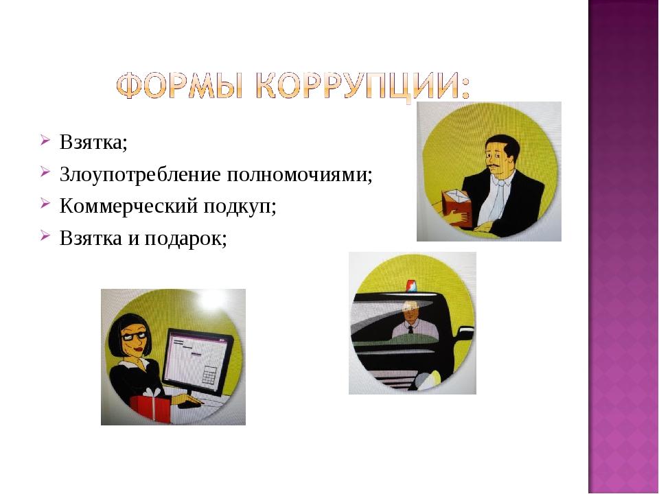 Взятка; Злоупотребление полномочиями; Коммерческий подкуп; Взятка и подарок;