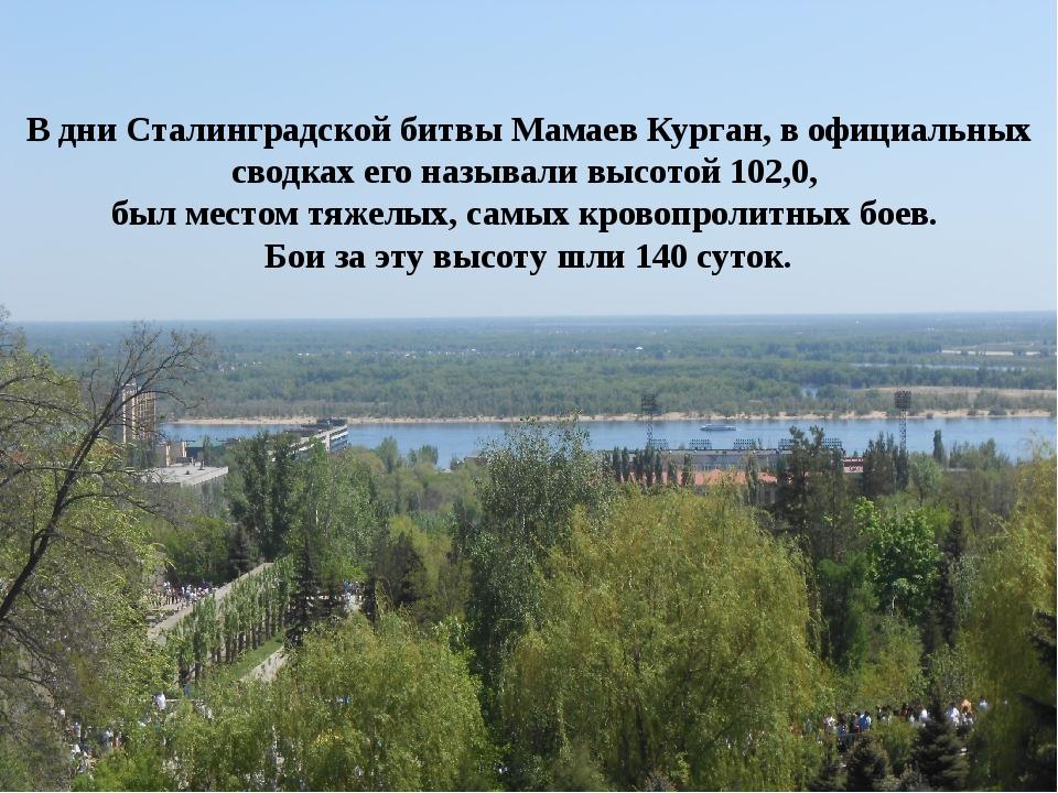 В дни Сталинградской битвы Мамаев Курган, в официальных сводках его называли...